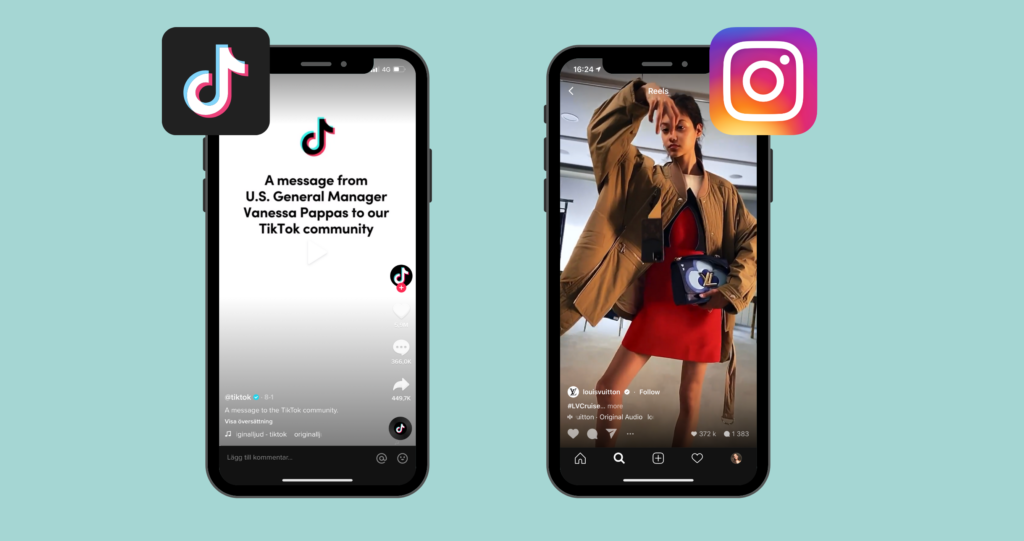 Photo: TikTok sends a message to users from the US and Louis Vuitton uses Instagram Reels